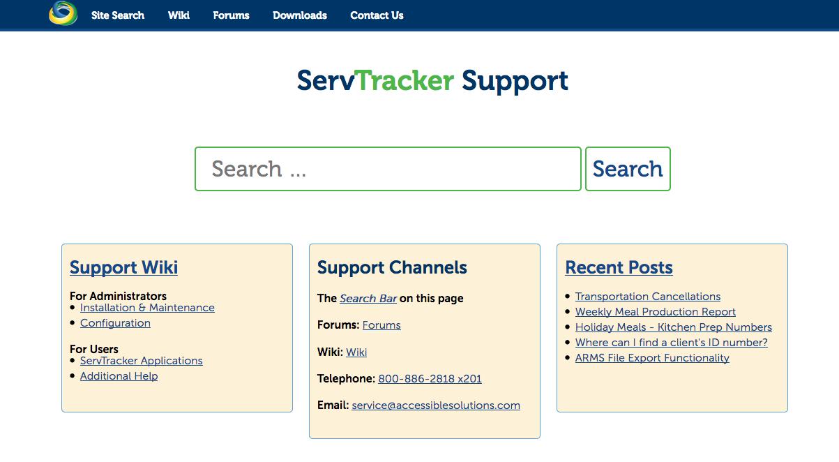 ServTracker Technical Support Site