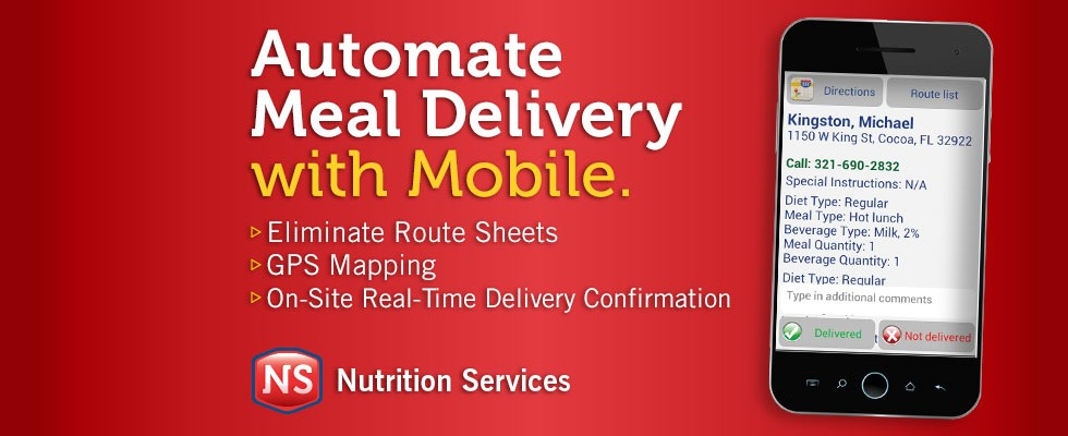 Automate Meal Delivery with Mobile. Eliminate Route Sheets. Gps Mapping. On-Site Real-Time Delivery Confirmation.