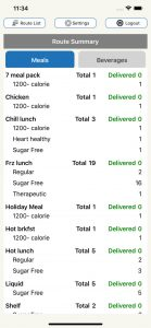 ServTracker Mobile Meals Iphone App Screenshot - route summary