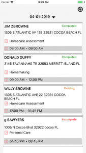 ServTracker homecare app screenshot client list