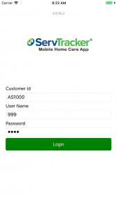 ServTracker homecare app screenshot login
